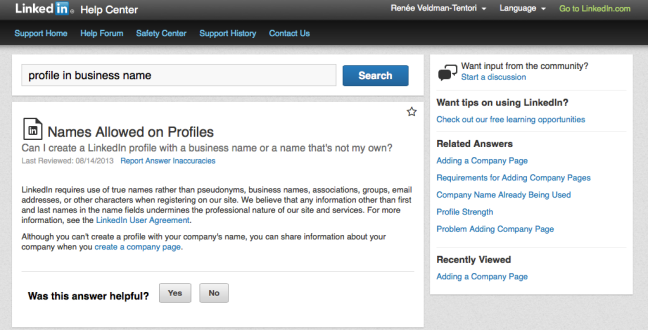 Setting up a personal profile in a business name